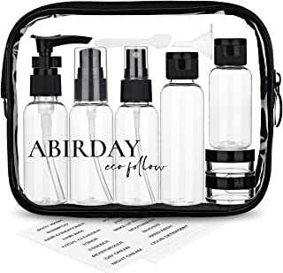 Travel Bottles ABIRDAY & Travel Size Toiletries Bag with Leak-Proof Travel Accessories & Containers for Liquids Carry-on Approved for Airplane - Women/Men(SET-A)
