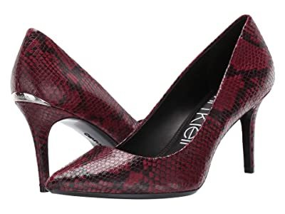 Calvin Klein Gayle Pump (Barn Red Two-Tone Snake) High Heels