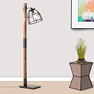 Lampadaire rustique - 1 ampoule E27 max. 40 W en métal/bois - Acier noir