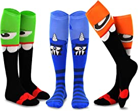 TeeHee Novelty Cotton Knee High Fun Socks 3-Pack for Junior and Women (Monster-C)