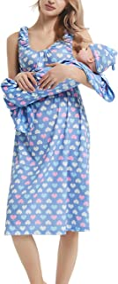 Maternity/Nursing Delivery Nightgown with Matching Baby Swaddle Blankets and Hat Set - Hospital Bag Must Have