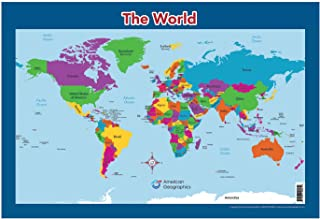 """World Map for Kids - World Wall/Desk Map (18"""" x 26"""" Laminated)"""