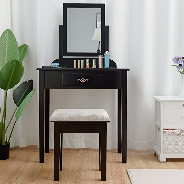 Giantex Vanity Dressing Table Stool Set For Bedroom Vanities Furniture With Large 360 Rotating Makeup Mirror Solid Wood Legs Padded Linen Fabric Bench Vanity Tables With Drawers Black 1 Drawer
