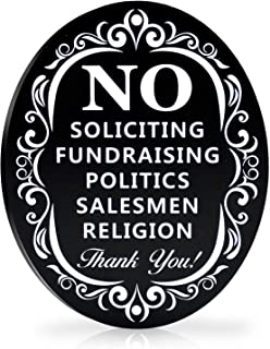 """Best Signs Authority No Soliciting Sign for House - Metal Door Sign for deterring Unwanted Visitors - Say Go Away without Confrontation - Larger Laser Cut Oval 6"""" X 4.75"""" Reviews"""