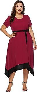 فستان Jhichic نسائي مقاس كبير بلون كتلة غير منتظمة وبحاشية خصر عالي ملفوف وأكمام قصيرة غير رسمية للحفلات متوسطة الطول