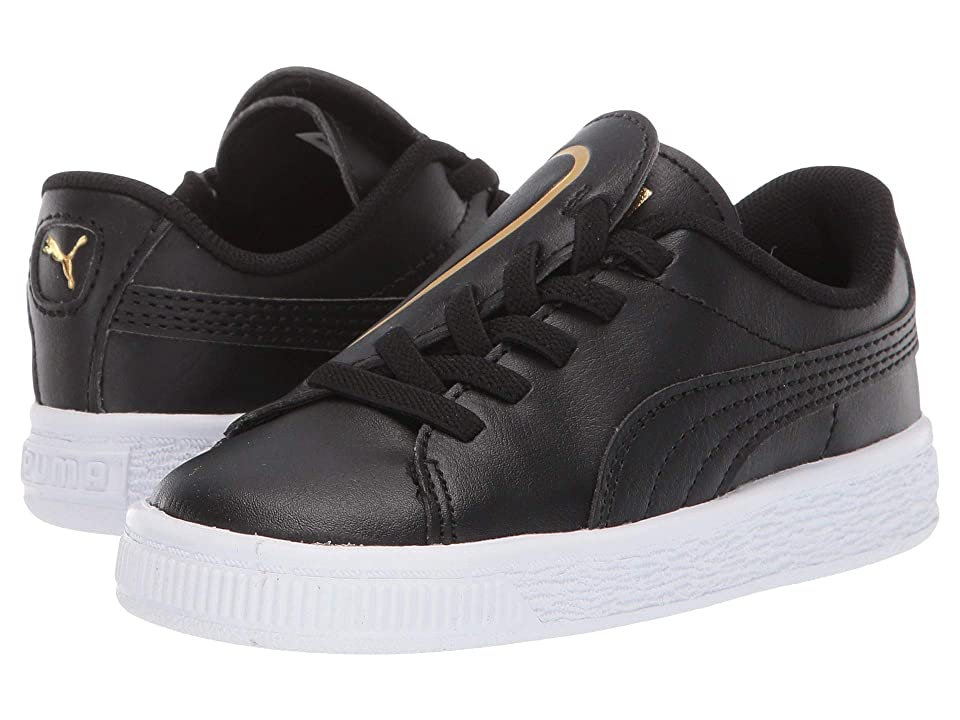 Puma Kids Basket Crush Slip-On (Toddler) (Puma Black/Puma Team Gold) Girls Shoes