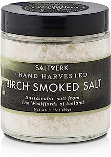 Saltverk Birch Smoked Sea Salt, 3.17 Ounces of Handcrafted Gourmet Salt Flakes from Iceland