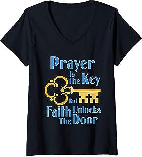 Womens Prayer is the Key V-Neck T-Shirt