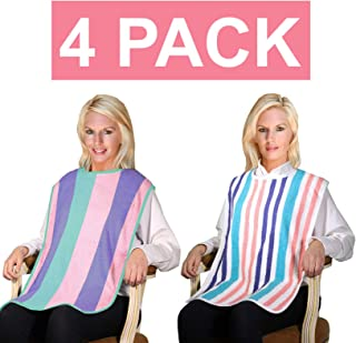 4 Pack - Clothing Protector Long Length Terry Cloth Senior Adult Bibs with Hook and Loop Closure. Meal Time Senior Bib