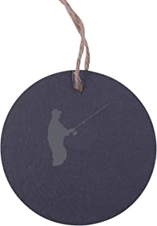 Personalized Custom Fishing, Fly Fishing 3.125-inch Circle Slate Hanging Christmas Tree Ornament