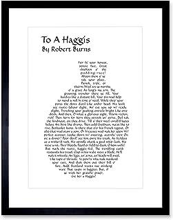 Wee Blue Coo Quote Scottish Poem Lyrics Burns To A Haggis Typograph Framed Wall Art Print