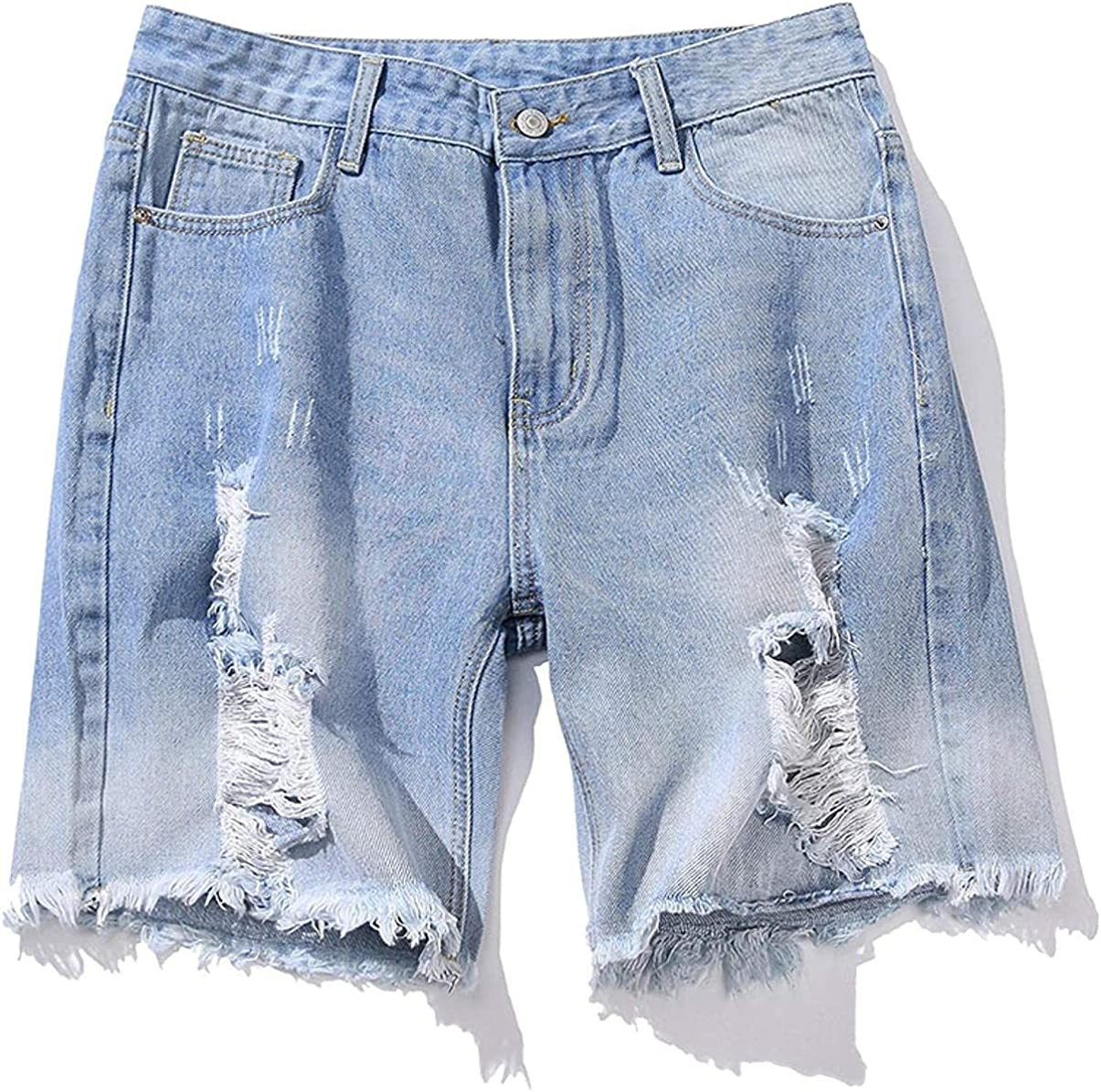 ZYUEER Men's Denim Shorts with Ripped Holes TornEdges Stretch Slim Fit Light Blue