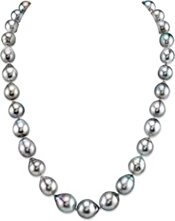 """THE PEARL SOURCE 14K Gold 9-11mm AAA Quality Baroque Genuine Platinum Tahitian South Sea Cultured Pearl Necklace in 18"""" Princess Length for Women"""