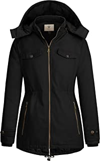 WenVen Women`s Thickened Winter Quilted Cotton Jacket with Removable Hood