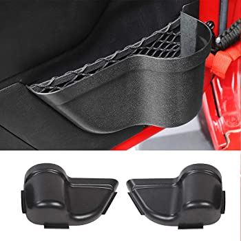 BulbForst Center Console Cover for Jeep Wrangler JL and Unlimited JLU Armrest Cover Pad with Pockets Black with Red Logo