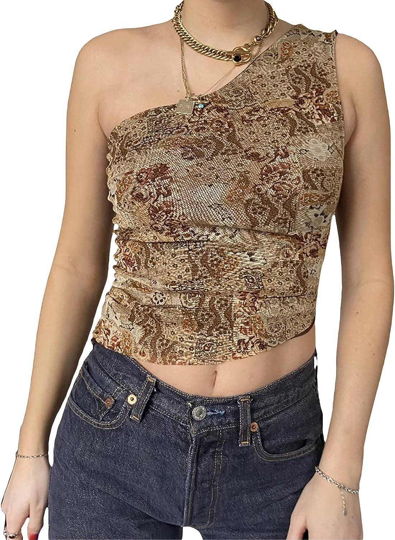 Crop Tops for Women Y2K Sexy One Shoulder Sleeveless Vest Basic Slim Bodycon Tees Fashion Exposed Navel Tops (Khaki, Medium)