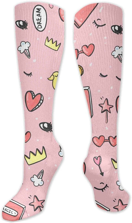 Cute Cartoon Magic Knee High Socks Leg Warmer Dresses Long Boot Stockings For Womens Cosplay Daily Wear