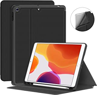 Supveco New iPad 10.2 Case 2019 with Pencil Holder - Premium Shockproof Case with Auto Sleep/Wake Feature for iPad 10.2 inch 7th Generation (Black)