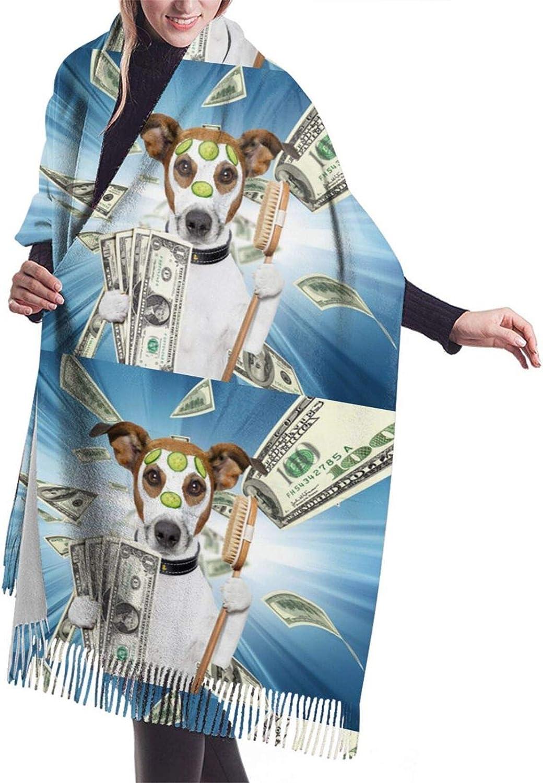 Funny Dog Money Cashmere Feel Scarf Lightweight Soft Scarfs For Boys Girls Creative Warm Cold Weather Blanket Scarf