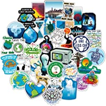 Earth Stickers Global Warming Stickers Climate Change Stickers Pack 50 Pcs Environmental Protection Decals for Water Bottl...