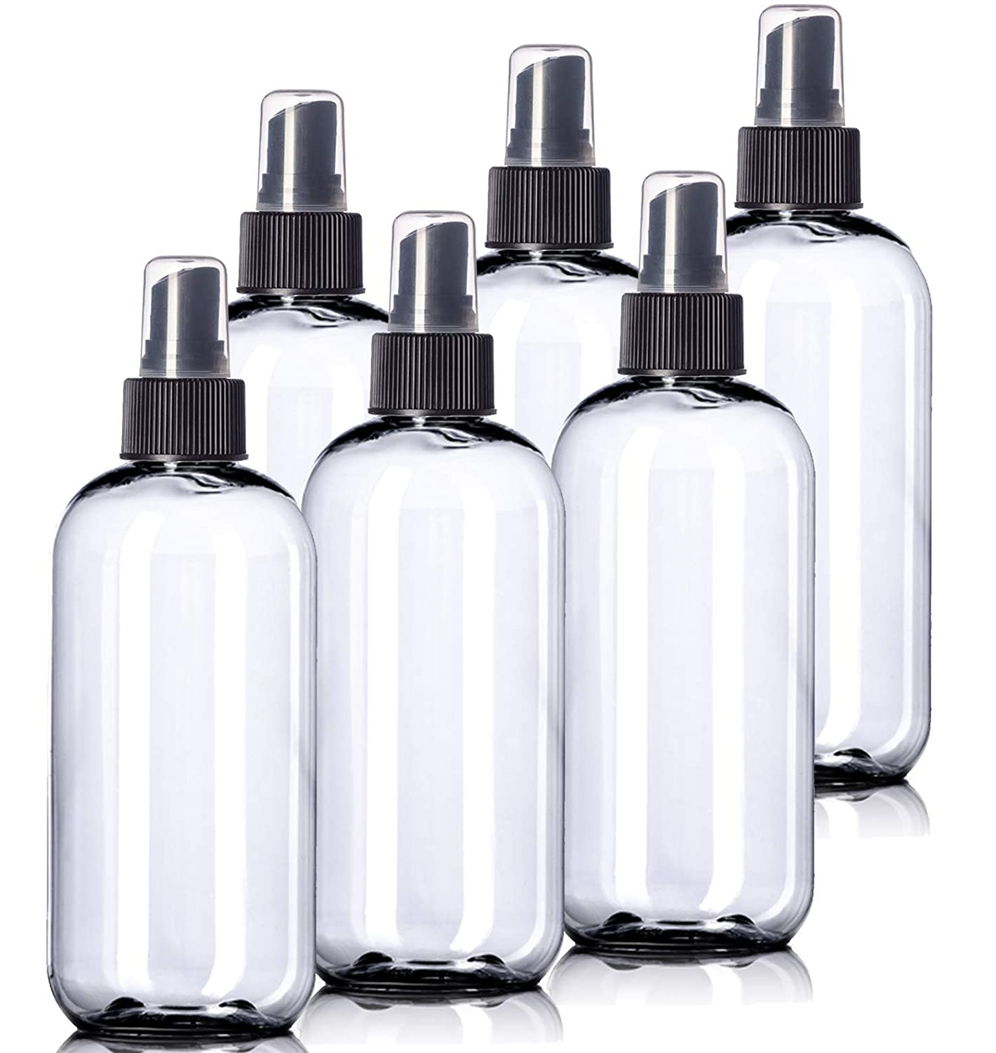 8oz Plastic Clear Bottles (6 Pack) BPA-Free Squeeze Containers with Spray Cap, Labels Included