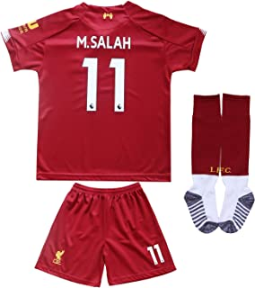 GamesDur Liverpool Mo Salah #11 Home Red Kids Soccer Jersey Set Shirt Short Socks Youth Sizes
