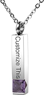 Personalized Custom Cremation Necklace Urn for Ashes Keepsake Memorial Bar Pendant Jewelry - 316L Titanium Steel