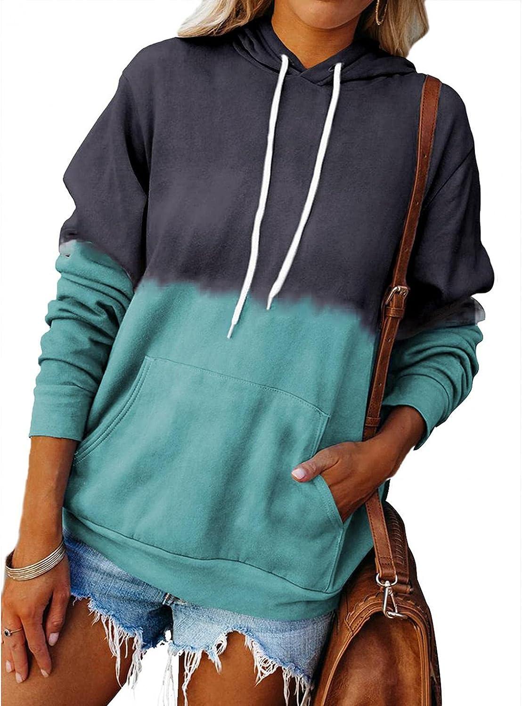 Sunhusing Women Long Sleeve Zip-Up Hoodie Jacket Color Block Sweatshirt Coat Loose Drawstring Autumn Hoodides Pullover