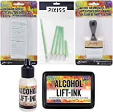 Ranger Tim Holtz Alcohol Ink Lift Ink Bundle, Alcohol Ink Applicator and 50pc Replacement Felt Pack, Lift-Ink Pad, 0.5-Ounce Alcohol Lift-Ink Reinker, 10x Pixiss Alcohol Ink Blending Tools