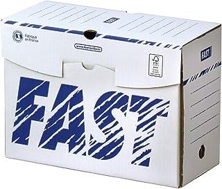 Fast Lot de 1200 Boîtes Archives en Carton Dos 15cm Montage Manuel Blanc/Bleu