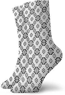 Fuliya, Calcetines cortos de longitud de pantorrilla suaves, étnicos, geométricos, rombos y triángulos, composición nativa americana, calcetines para mujeres y hombres, los mejores para correr