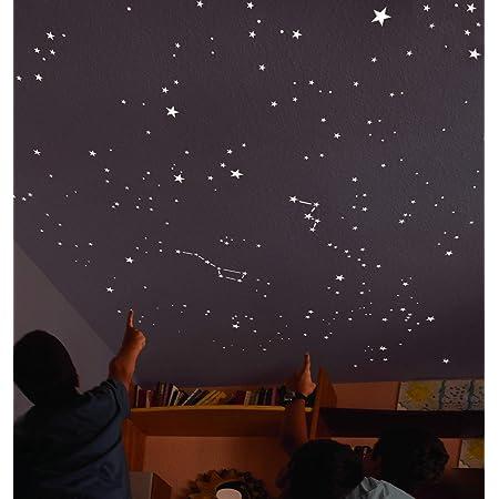 Encambio Alcrea Kit de 270 étoiles Phosphorescentes, Patron enPapier de Plus de 2 m². Reproduction EXACTE du Ciel DE Nuit + Guide du Ciel avec indications.