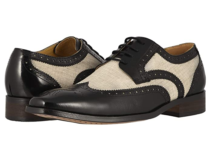 Men's 1950s Shoes Styles- Classics to Saddles to Rockabilly Stacy Adams Kemper Wingtip Oxford BlackBeige Mens Shoes $92.45 AT vintagedancer.com