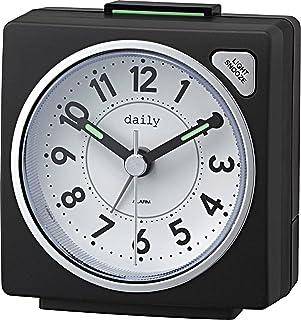 リズム(RHYTHM) 目覚まし時計 アナログ 小さい かわいい デイリーRA27 連続秒針 ライト 付き カラフル 時計 黒 DAILY (デイリー) 8REA27DN02