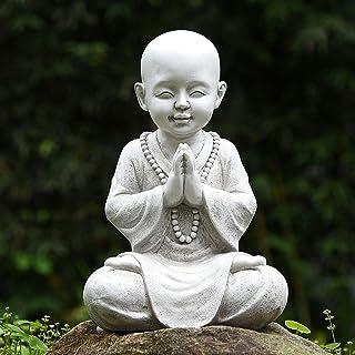 Meditating Baby Buddha Garden Ornament,Zen Garden Monk Statue Figurine Sculpture-Indoor/Outdoor Decor for Home,Garden, Pat...