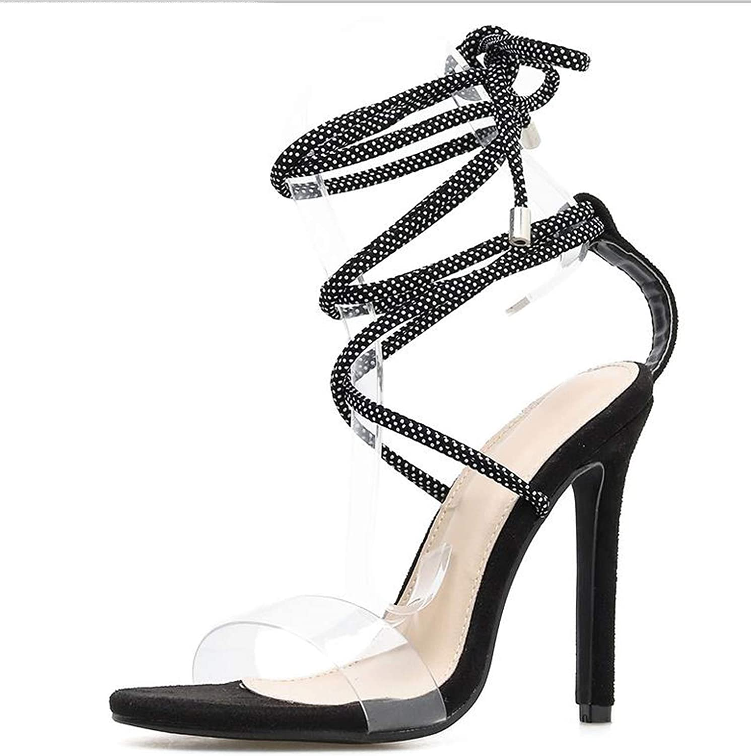 Summer High Heels Women Gladiator Sandals Cross-Tied Lace-Up Sexy Thin Heel Sandals Lady shoes Black