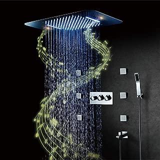 PINCHU Ducha Set,304 Acero Inoxidable Música LED Sistema de Ducha, LED Música Top Spray, Cascada Modo de Lluvia, Spa Spray, Ducha de Mano 580x380 mm 2 Función LED Ducha de Música