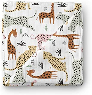 Aenne Baby Safari Animals Muslin Swaddle Blanket Gender Neutral Travel, Large 120 x 120 cm, 1 Pack, Baby shower Gifts, Lux...