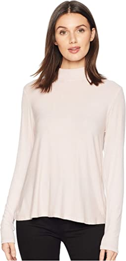 2X1 Rib Long Sleeve Mock Neck Swing Top