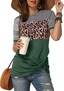 Gnpolo Womens Leopard Print T Shirts Stripe Twist Knot Tunic Tops Short Sleeve Casual Blouses