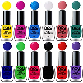 NOY® Nail Polishes Set of 12 Quick Dry Shiny Colors for Fingernails and Toenails 6ml each (Yellow, Plum, Sky Blue, White, Peach, Radium Green, Blue, Green, Carrot Pink, Black, Orange Red, Purple)