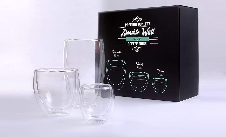 Double Wall Borosilicate Thermo Insulated Clear Glass Latte Coffee Cups And Espresso Mug Set Of 3 16 Oz 8 Oz 3 Oz