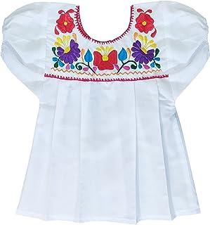 Blusa Niña 3 AÑOS, estilo México con cinco flores. Blusa blanca bordada y tejida. HECHO EN MEXICO. - 3 años -