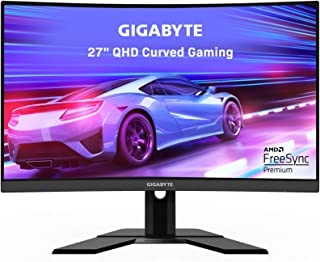 "GIGABYTE G27QC 27"" 165Hz 1440P Curved Gaming Monitor, 2560 x 1440 VA 1500R Display, 1ms (MPRT) Response Time, 92% DCI-P3, ..."