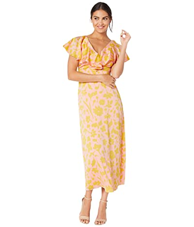 Kate Spade New York Splash Satin Midi Dress (Light Natural/Yellow Nude) Women