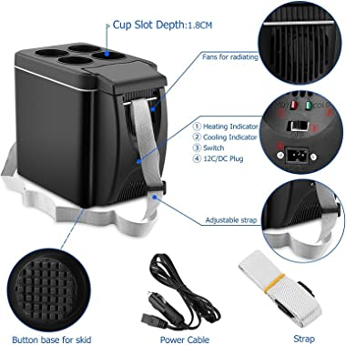 Car Refrigerator, 12V Mini Fridge Portable Personal Cooler Freezer Heater 6L 9 Cans, For Bedroom Travel Office Home Camping