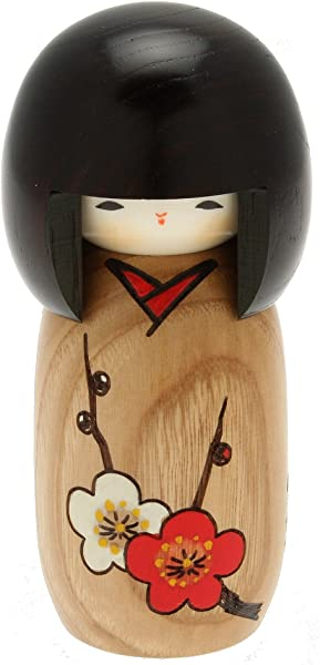 Usaburo 日本 Kokeshi 娃娃 Sachiko S 棕色和服
