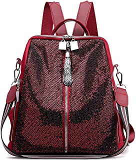 GYYlucky Nylon Women's Backpack New Sequin Fashion Sports Bag Simple Travel Bag (Color : Red)