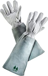 Leather Gardening Gloves by Fir Tree. Premium Goatskin Gloves With Cowhide Suede Gauntlet Sleeves. Perfect Rose Garden Gloves. Men's and Women's Sizes. (See Size Chart Photo) Size S