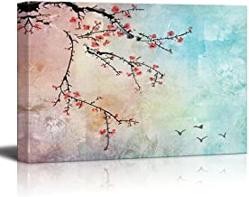 wall26 - Beautiful Watercolor Illustration of Cherry Blossoms and Birds in The Sky - Canvas Art Home Decor - 16x24 inches